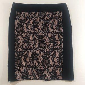 HeartSoul Pink/Black Lace Pencil Skirt